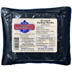 Halshan Premium Raw Food Ground Turkey Necks with Bone Frozen Raw Pet Food, 1-lb.
