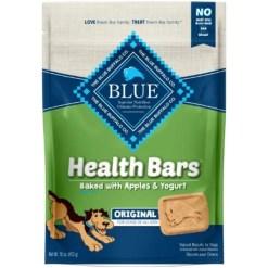 Blue Buffalo Health Bars Baked with Apples & Yogurt Dog Treats, 16-oz bag.