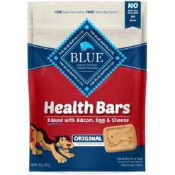 Blue Buffalo Health Bars Baked with Bacon, Egg & Cheese Dog Treats, 16-oz bag.
