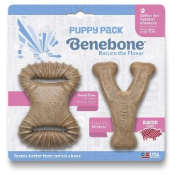 Benebone Bacon Flavor Tough Puppy Chew Toy Pack.