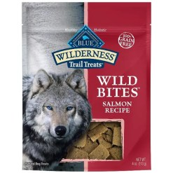 Blue Buffalo Wilderness Trail Treats Salmon Wild Bites Grain-Free Dog Treats, 4-oz bag.