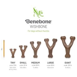 Benebone Wishbone Size Chart. Tiny, Under 15 lbs, 3.8 by 2.8 inches. Small, Under 30 lbs, 5.3 by 3.8 inches. Medium, Under 60 lbs, 7 by 4.8 inches. Large, Under 90 lbs, 8.3 by 5.5 inches. Giant, Under 120 lbs, 9 by 6.3 inches.
