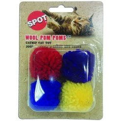 Ethical Pet Wool Pom Poms Cat Toy with Catnip, 4 Pack.