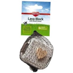 Kaytee Lava Block with Wood Chews Small Animal Toy.
