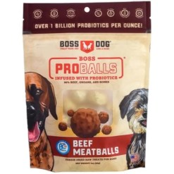 Boss Dog Proballs Probiotic Infused Beef Meatballs Freeze Dried Dog Treats, 3-oz Bag.