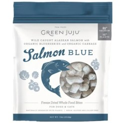 Green JuJu Salmon Blue Recipe Freeze-Dried Salmon Whole Food Bites For Dogs & Cats, 7.5-oz