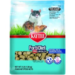 Kaytee Forti-Diet Pro Health Mouse, Rat & Hamster Food, 3-lb Bag.