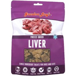 Grandma Lucy's Freeze-Dried Liver Single Ingredient Pet Treats, 2.5-oz Bag.