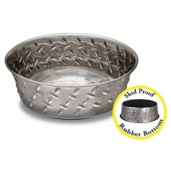 Loving Pet Ruff N' Tuff Diamond Plate Bowl with Non-Skid Bottom.