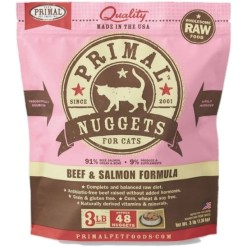 Primal Raw Frozen Feline Nuggets Beef & Salmon Formula Cat Food, 3-lb SKU 5033400409