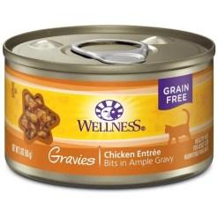 Wellness Natural Grain Free Gravies Chicken Dinner Canned Cat Food, 3-oz SKU 7634402750
