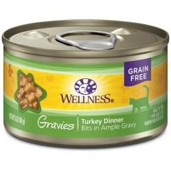 Wellness Natural Grain Free Gravies Turkey Dinner Canned Cat Food, 3-oz SKU 7634402752