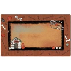 Drymate Rust Border White Dog House Dog Bowl Placemat SKU 5803583515