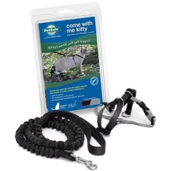 PetSafe Come With Me Kitty Nylon Cat Harness & Bungee Leash, Black ,Medium SKU 5902308536