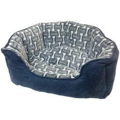 Ethical Pet Sleep Zone Bones Scallop Bolster Dog Bed, Gun Metal, 21 in. SKU 7723431028