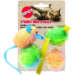Ethical Pet Stringy Mice & Ball Cat Toy with Catnip, 4 Pack SKU 7723402505