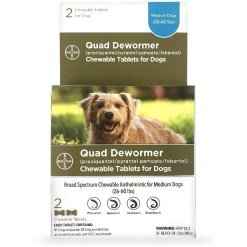 Bayer Quad Dewormer for Hookworms, Roundworms, Tapeworms & Whipworms for Dogs, 26-60 lbs, 2 Count SKU 2408911336