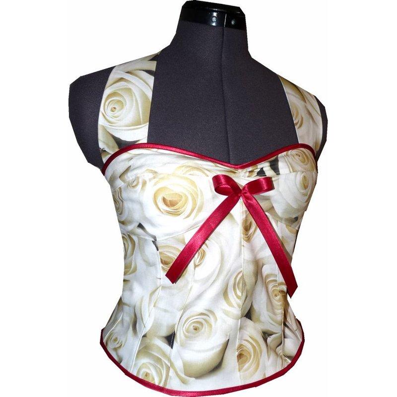 Brautkleid zum Petticoat Hochzeit 50er Jahre creme Rosen