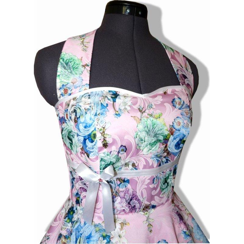 50er Kleid Brautkleid Hochzeit zum Petticoat rosa Satin Blumen  Tanz