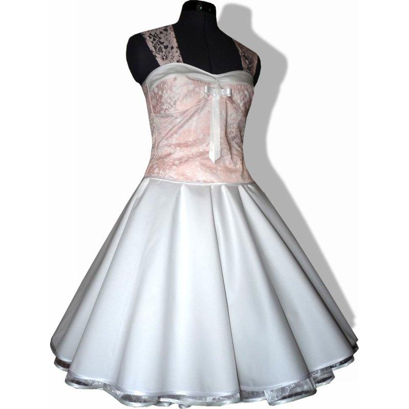 50er Jahre Brautkleid Hochzeit wei zum Petticoat Dekoltee