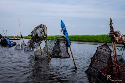 Près de l'embarcadère, les pêcheurs viennent stocker leurs prises dans de grandes nasses avant d'aller les vendre au marché. // Lac Nokoué - 2016