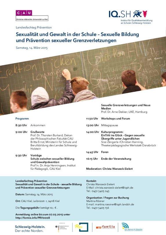 14.03.2015 Landesfachtag Prävention: Sexualität und Gewalt in der Schule – Sexuelle Bildung und Prävention sexueller Grenzverletzungen, Kiel