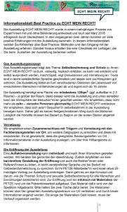 Informationsblatt Best Practice zu ECHT MEIN RECHT!