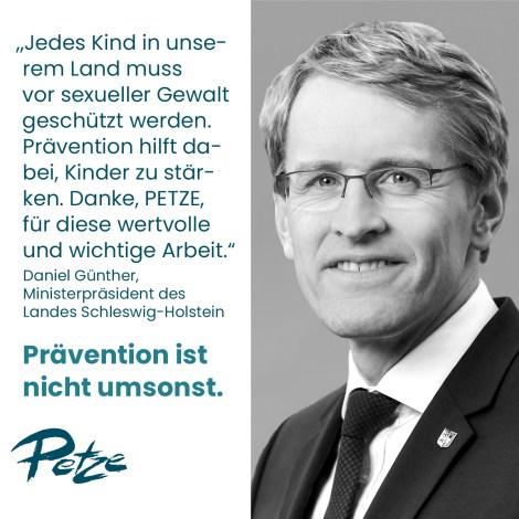 Ministerpräsident Daniel Günther setzt ein deutliches Zeichen für die aktuelle Online-Kampagne des Petze Instituts für Gewaltprävention.