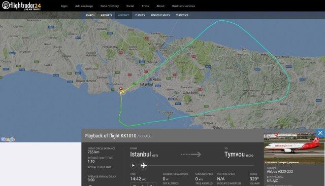 La grêle a été rencontrée à environ 1500m d'altitude, les pilotes ont alors enclenché la procédure d'atterrissage automatique et ont suivi cette trajectoire parfaite.