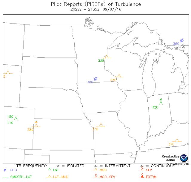 Cette carte présente les turbulences reportées par les pilotes sur le quart nord-ouest des USA avec leur intensité