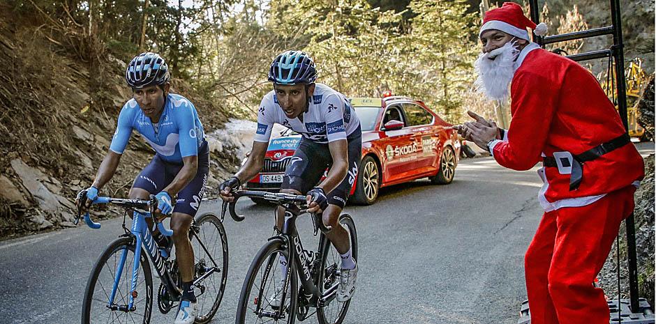 Nairo Quintana e Egan Bernal em ação.