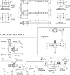 pfa quick die change model 948 and 950 pneumatic air die lifter rail schematic drawing [ 1000 x 1164 Pixel ]