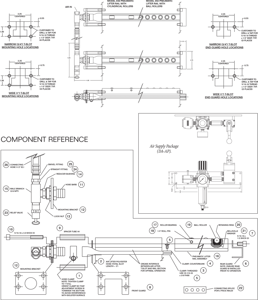 hight resolution of pfa quick die change model 948 and 950 pneumatic air die lifter rail schematic drawing