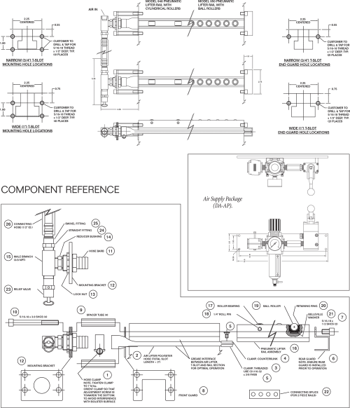 small resolution of pfa quick die change model 948 and 950 pneumatic air die lifter rail schematic drawing