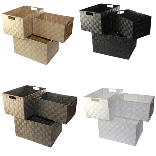 XXL Aufbewahrungsbox 3er Set Badezimmer Kiste Korb geflochten Kiste Kosmetik Box Mbel Wohnen