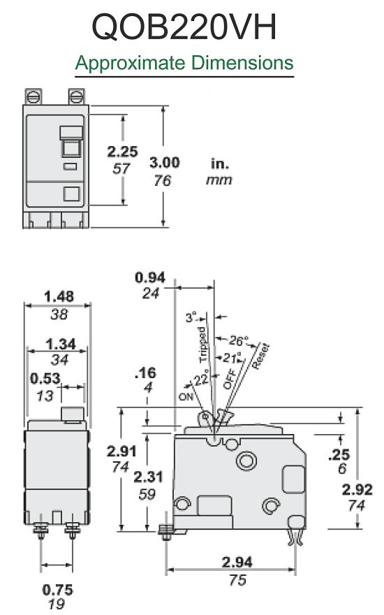 Square D QOB220VH 20 Amp 2-Pole Circuit Breaker 22K AIC