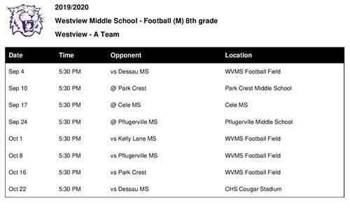 Athletics & PE / Football Schedule