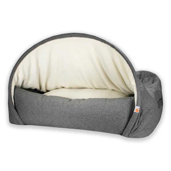 1. Sleepy Fox®-Snuggle Cave Bed for Dogs-Quilted Grey_Large_Draped_Lining.jpg