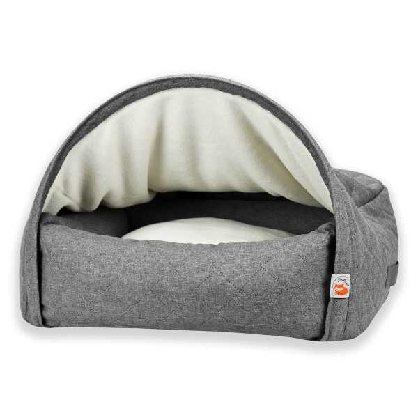 1. Sleepy Fox®-Snuggle Cave Bed for Dogs and Cats-Quilted Grey_Front.jpg