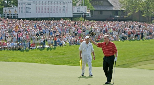 Jack Nicklaus in 2005 on the 18th green at Muirfield Village. (Chris Condon/PGA TOUR)