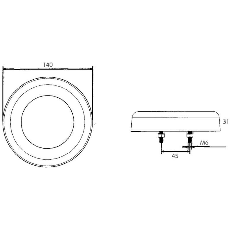 Feu arriere Rond LED PRO-RING 12/24 volts, câble 0,5m avec