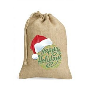 North Pole Jute Drawstring Bag