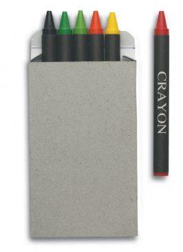 6 Wax Crayons in cardboard box