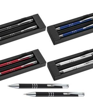 Metal pen and pencil set in a black gift box