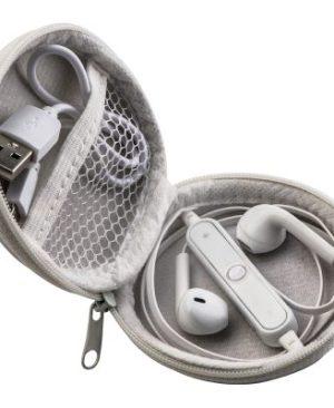 Bluetooth earphones in pouch