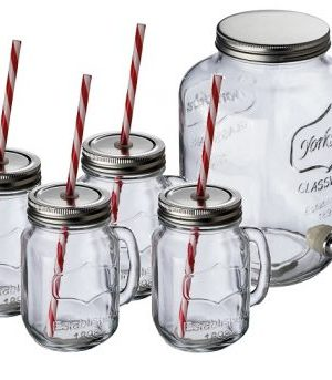 4Lt glass dispenser with 4 glass jugs