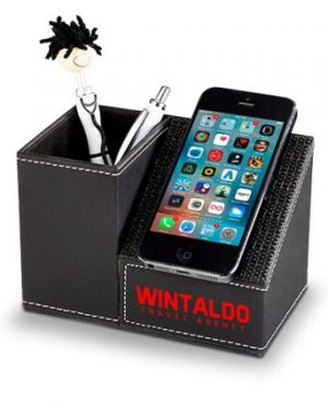 Desktop Pen And Phone Holder Combo - Avail in: Black