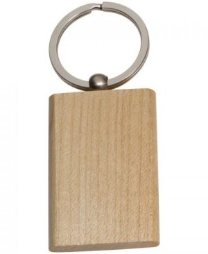 Beech wood round key ring