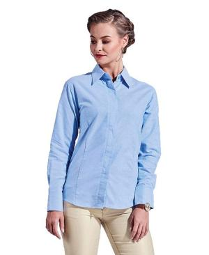 Barron Ladies Oxford Blouse Long Sleeve - Avail in: Navy