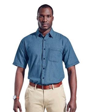 Barron Mens Denim Shirt Short Sleeve - Avail in: Mid Blue